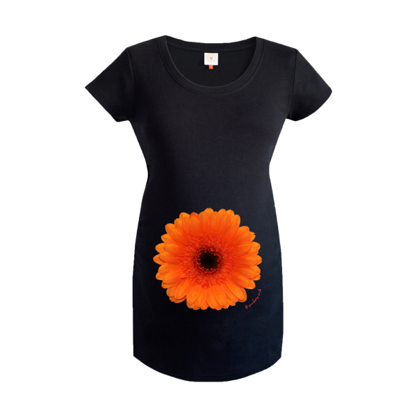 Gooseberry Pink orange gerbera maternity top in black organic cotton