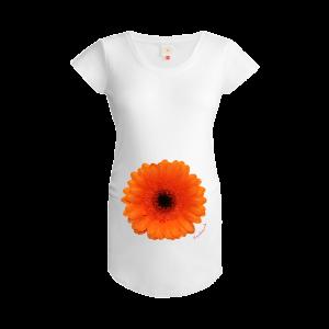 Gooseberry Pink orange gerbera maternity top in white organic cotton