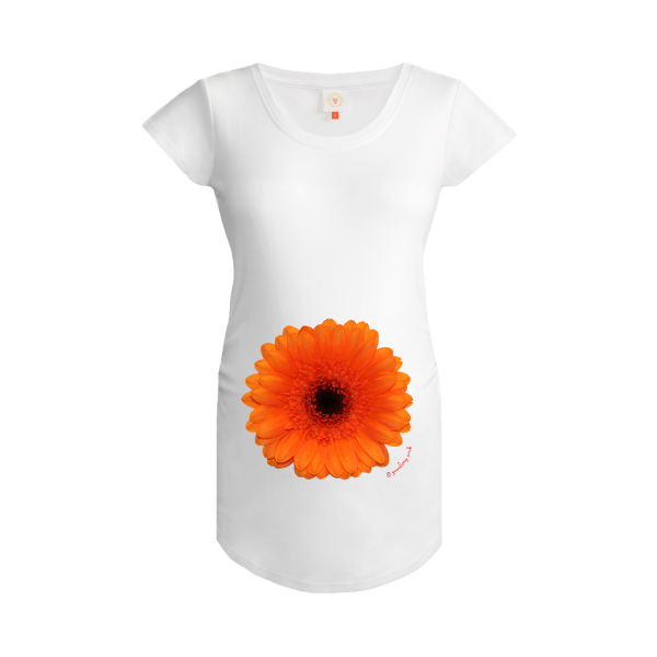 Gooseberry Pink orange gerbera maternity top in white organic cotton