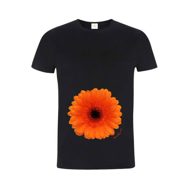 Gooseberry Pink orange gerbera relaxed fit top in black organic cotton