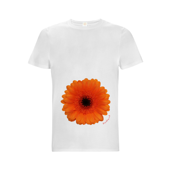 Gooseberry Pink orange gerbera relaxed fit top in white organic cotton