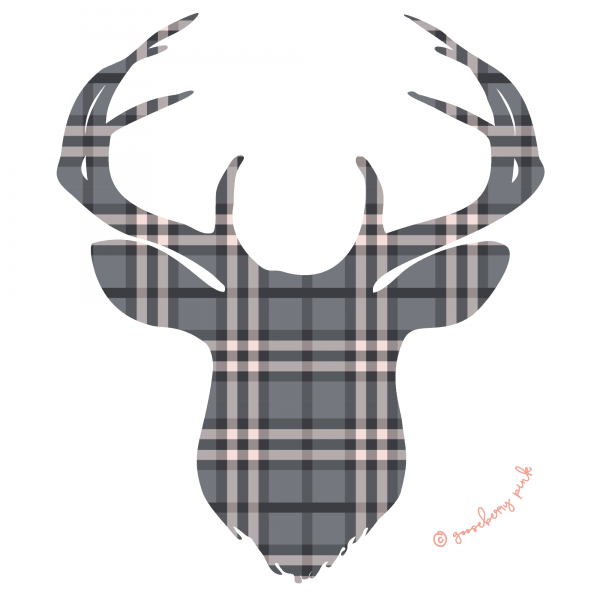Pastel plaid deer design on white background by Gooseberry Pink