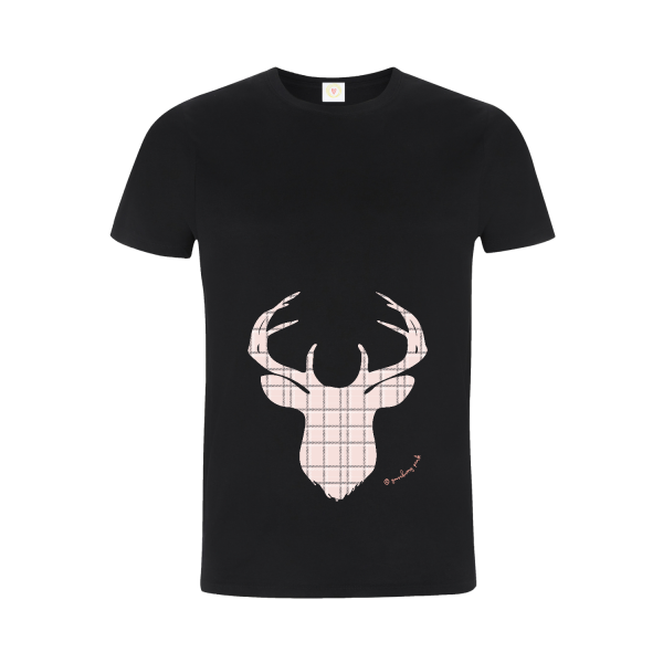 Gooseberry Pink pink pastel deer relaxed fit top in black organic cotton