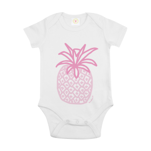 Gooseberry Pink pineapple baby bodysuit in white organic cotton