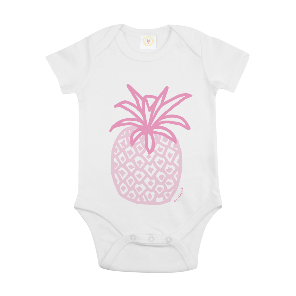 Gooseberry Pink pineapple baby bodysuit in white organic cotton