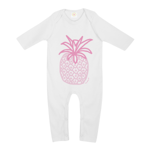 Gooseberry Pink pineapple baby sleepsuit in white organic cotton