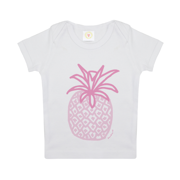 Gooseberry Pink pink pineapple baby t-shirt in white organic cotton