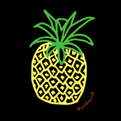 Pineapple design on black background by Gooseberry Pink