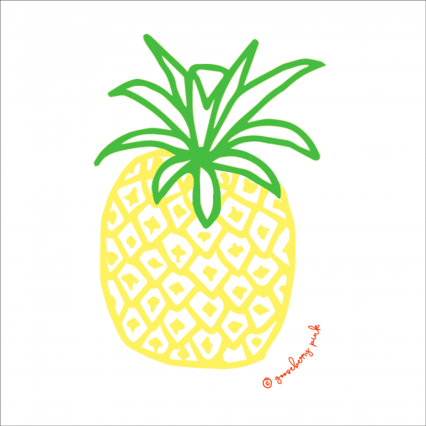 Pineapple design on white background by Gooseberry Pink