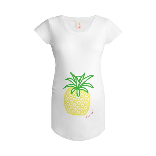 Gooseberry Pink pineapple maternity top in white organic cotton