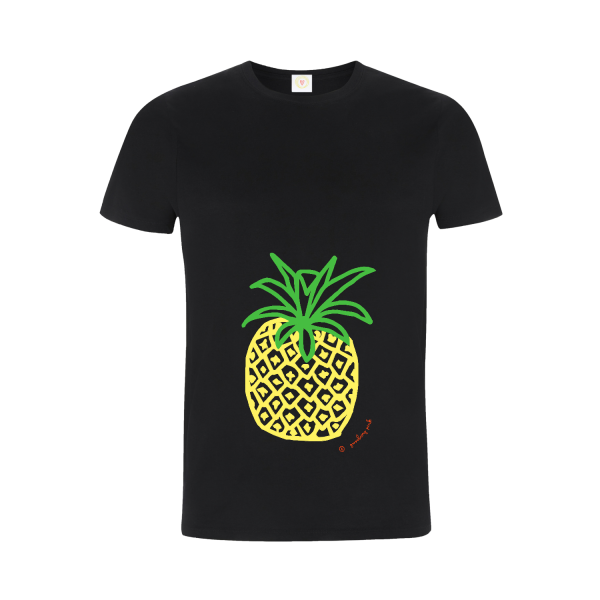 Gooseberry Pink pineapple relaxed fit top in black organic cotton