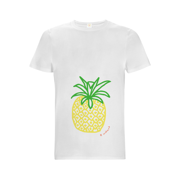 Gooseberry Pink pineapple relaxed fit top on white organic cotton
