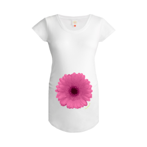 Gooseberry Pink pink gerbera maternity top in white organic cotton
