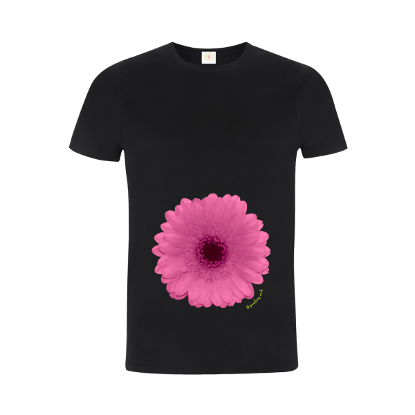 Gooseberry Pink pink gerbera relaxed fit top in black organic cotton