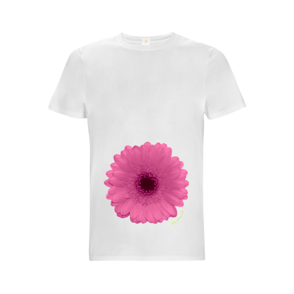 Gooseberry Pink pink gerbera relaxed fit top in white organic cotton