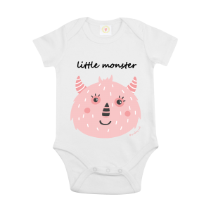 Gooseberry Pink pink monster baby bodysuit in white organic cotton