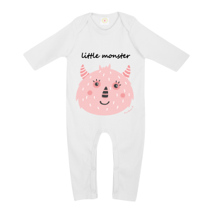 Gooseberry Pink pink monster baby sleepsuit in white organic cotton