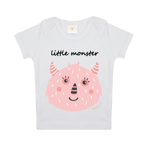 Gooseberry Pink pink monster baby t-shirt in white organic cotton