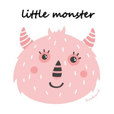 Pink monster design on white background by Gooseberry Pink