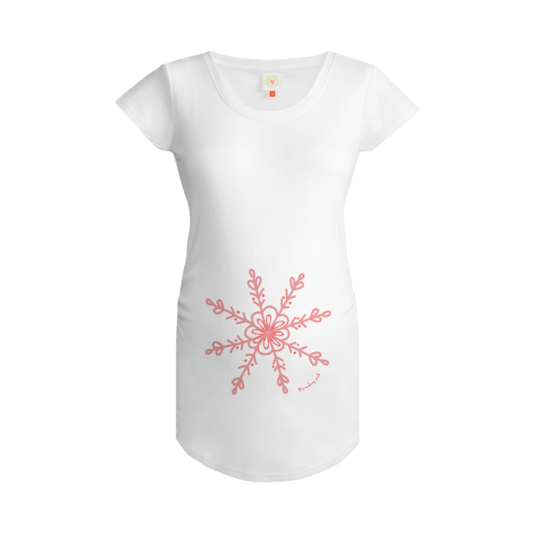 Winter maternity top featuring a pink snowflake design