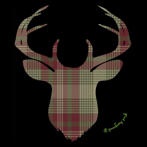 Green plaid deer design on black background by Gooseberry Pink
