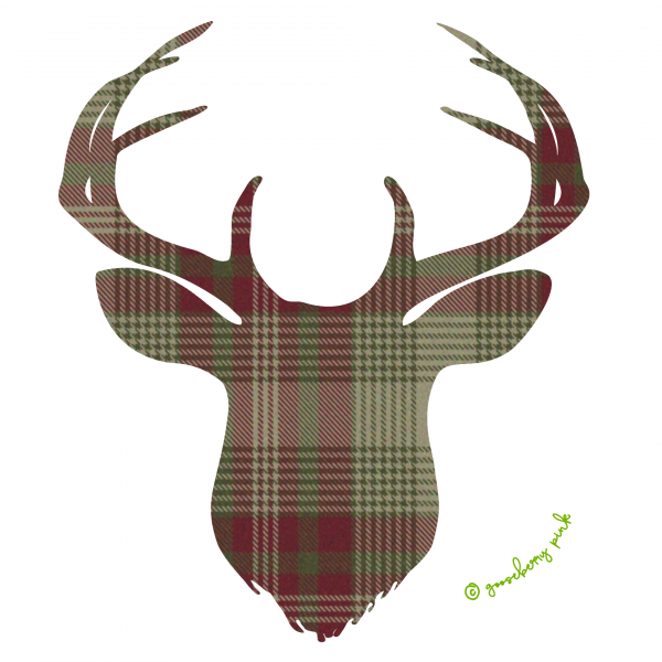 Green plaid deer design on white background by Gooseberry Pink