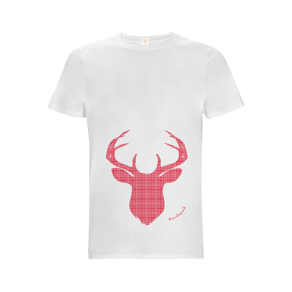 Gooseberry Pink red deer relaxed fit top in white organic cotton