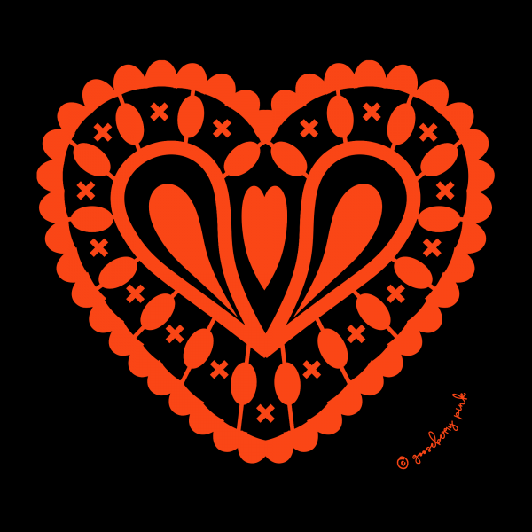 red heart design on black background by Gooseberry Pink