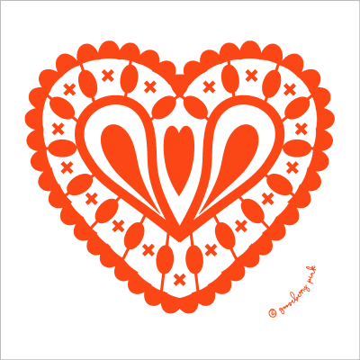 red heart design on white background from Gooseberry Pink