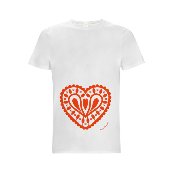 Gooseberry Pink red heart relaxed fit top on white organic cotton