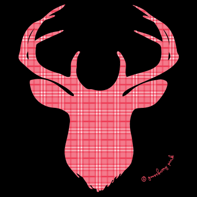 Red deer design on black background by Gooseberry Pink
