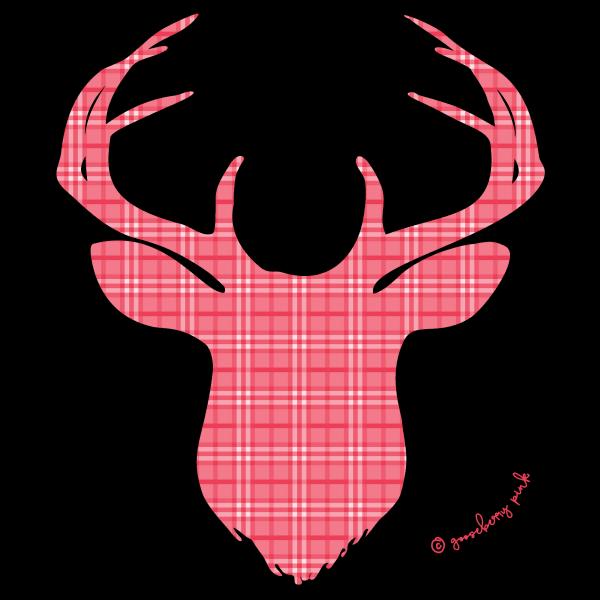 Red deer design on black background by Gooseberry Pink