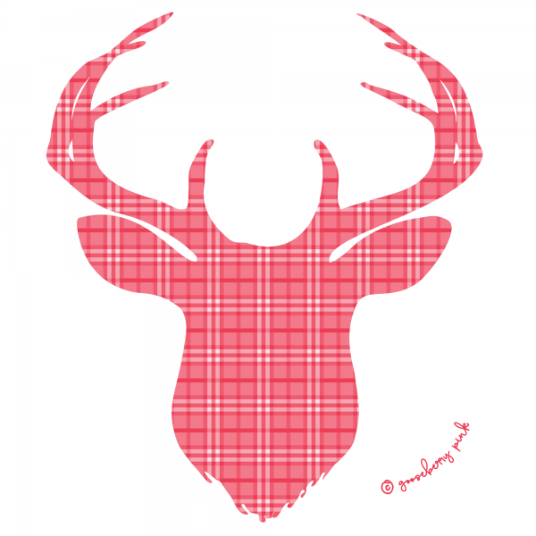red deer design on white background by Gooseberry Pink