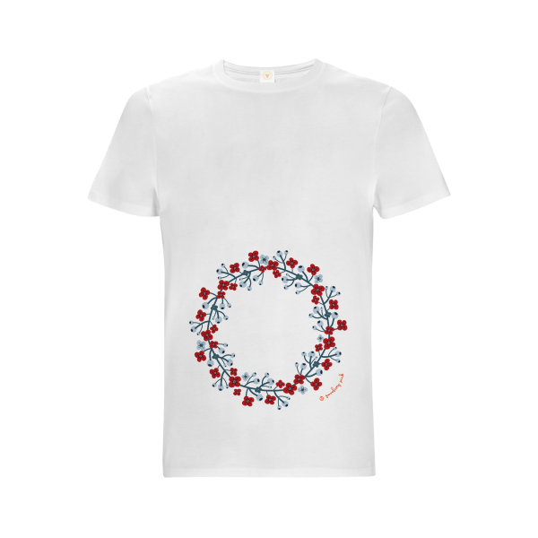 Gooseberry Pink scandinavian garland relaxed fit top in white organic cotton
