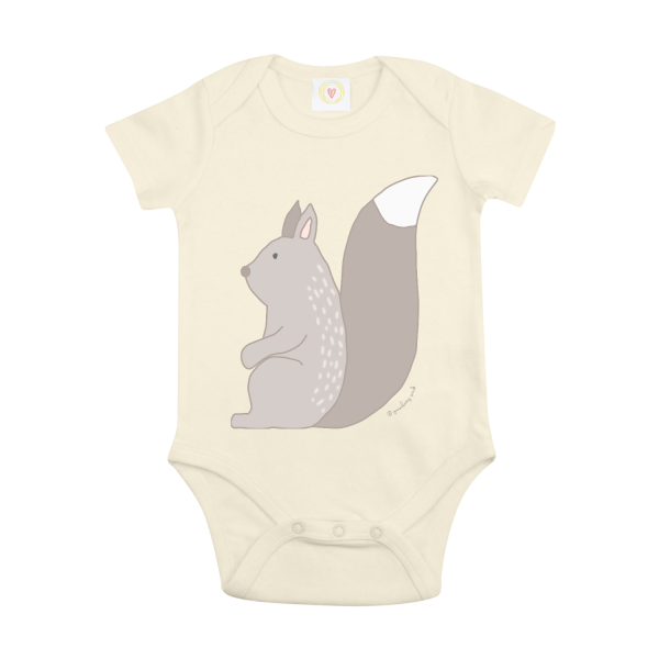 Gooseberry Pink squirrel baby bodysuit in ecru organic cotton