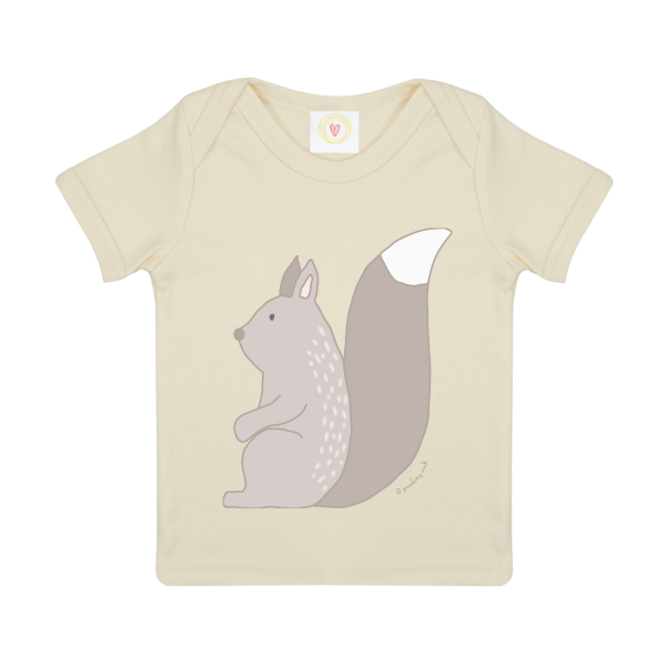 Gooseberry Pink Squirrel baby t-shirt in ecru organic cotton