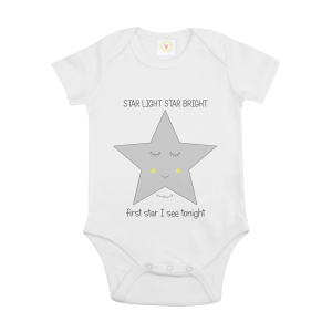 Gooseberry Pink star baby bodysuit in white organic cotton