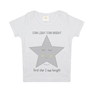 Gooseberry Pink star baby t-shirt in white organic cotton
