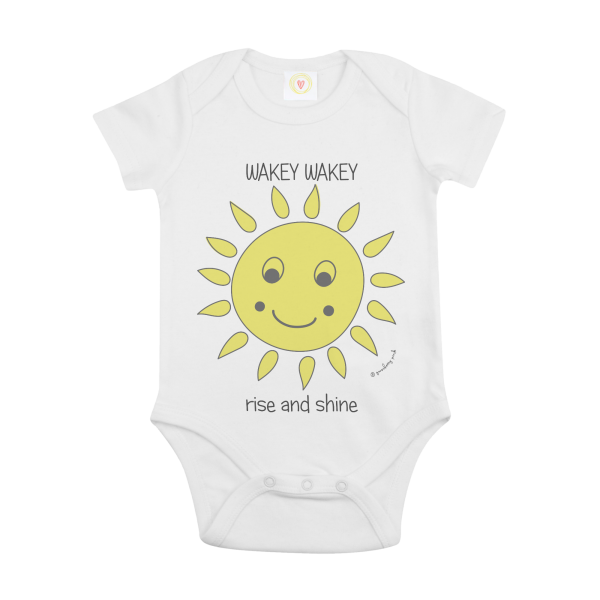 Gooseberry Pink sun baby bodysuit in white organic cotton