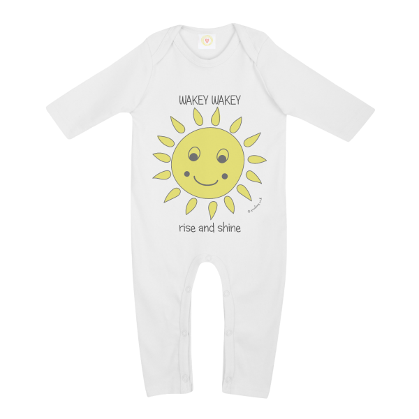 Gooseberry Pink sun baby sleepsuit in white organic cotton