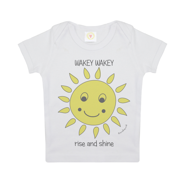 Gooseberry Pink sun baby t-shirt in white organic cotton