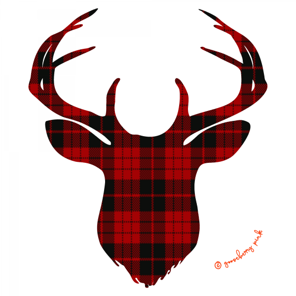 Tartan deer design on white background by Gooseberry Pink