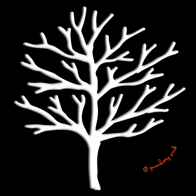 Winter tree design on black background by Gooseberry Pink