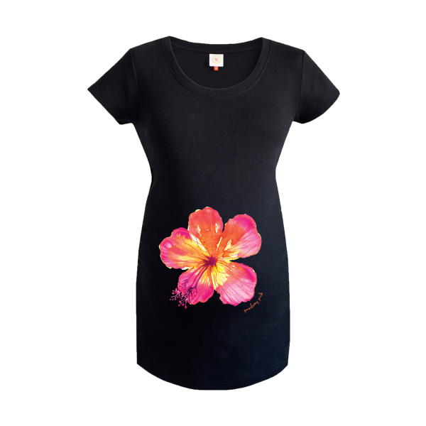 Gooseberry Pink tropical flower maternity top in black organic cotton