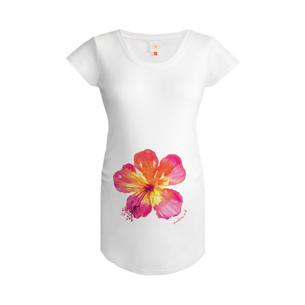 Gooseberry Pink tropical flower maternity top in white organic cotton
