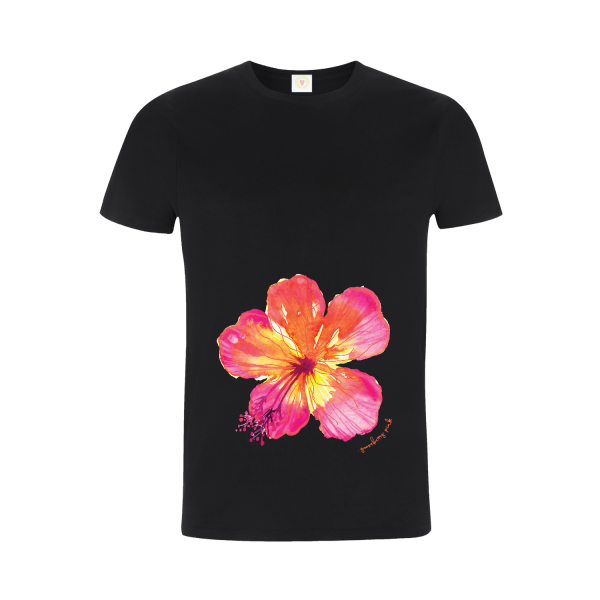 Gooseberry Pink tropical flower relaxed fit top in black organic cotton