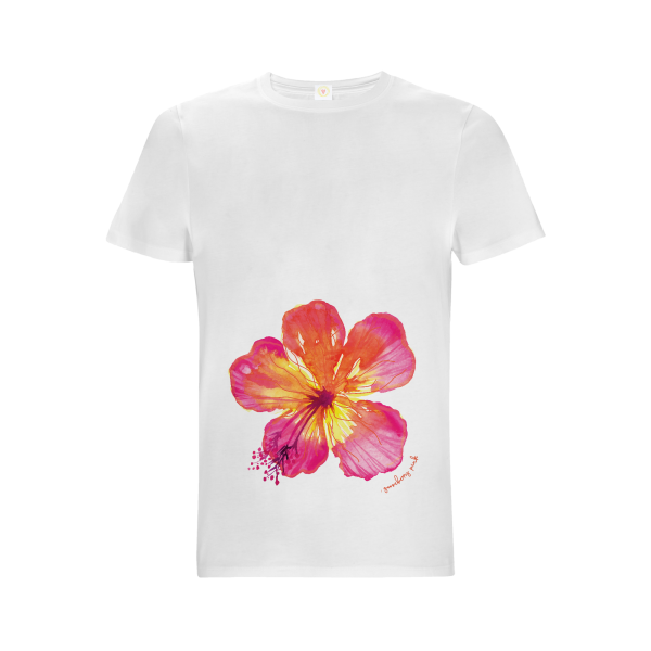 Gooseberry Pink tropical flower relaxed fit top in white organic cotton