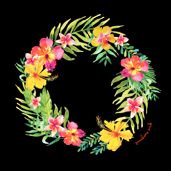 Tropical garland design on black background by Gooseberry Pink