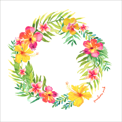 Tropical garland design on white background by Gooseberry Pink