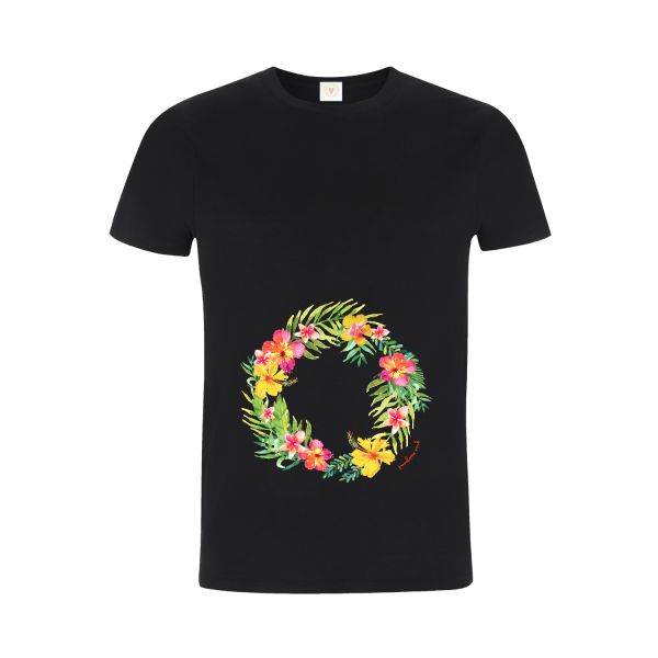 Gooseberry Pink tropical garland relaxed fit top on black organic cotton